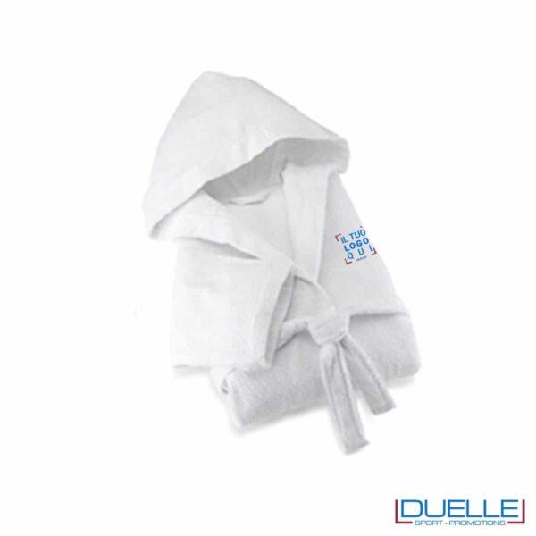 Accappatoio personalizzato bianco cotone, gadget Wellness, gadget benessere, gadget elegante, gadget viaggi