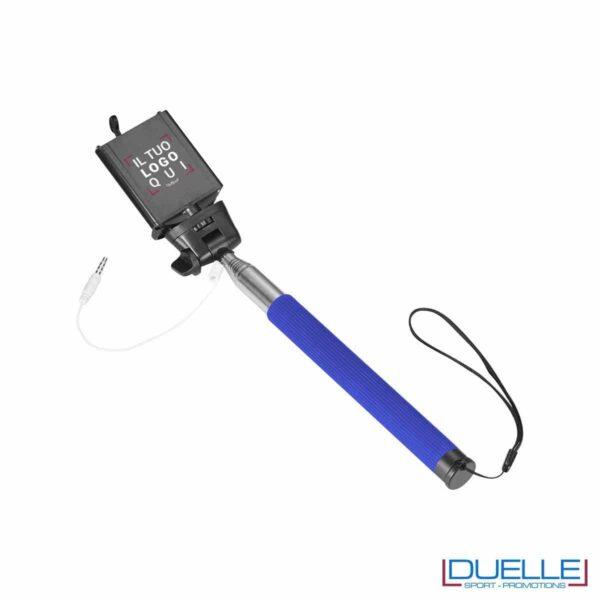 bastone per selfie personalizzato in colore blu, articoli promozionali per smartphone personalizzati in colore blu