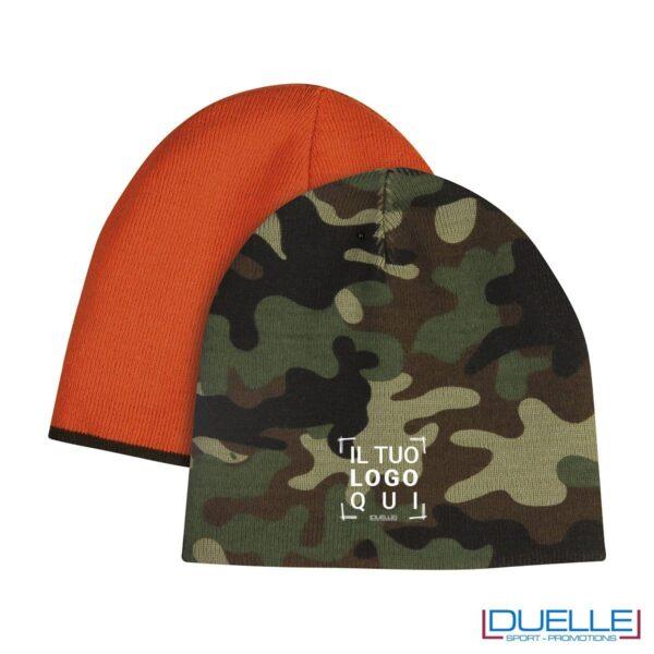 berretto personalizzato invernale camouflage, berretto invernale personalizzato double face