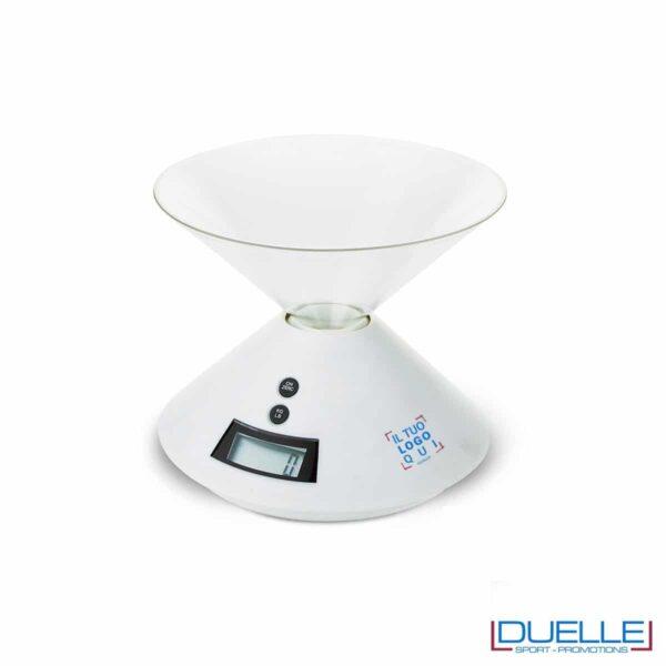 Bilancia digitale in plastica con vaso trasparente e asportabile.