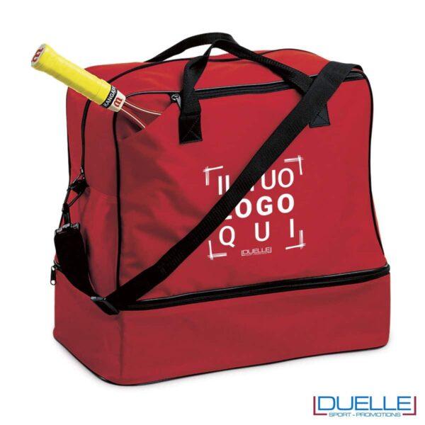Borsa sportiva personalizzata colore ROSSO con porta scarpe, gadget sport personalizzati, gadget premiazione sportiva
