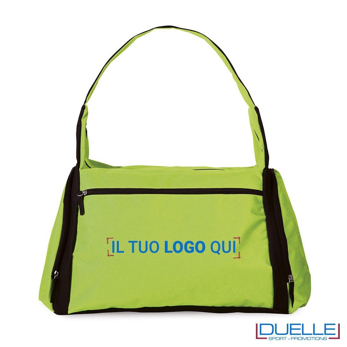 borsa sportiva colore VERDE ACIDO ideale per la palestra, borse sportive personalizzate, gadget sportivi personalizzati