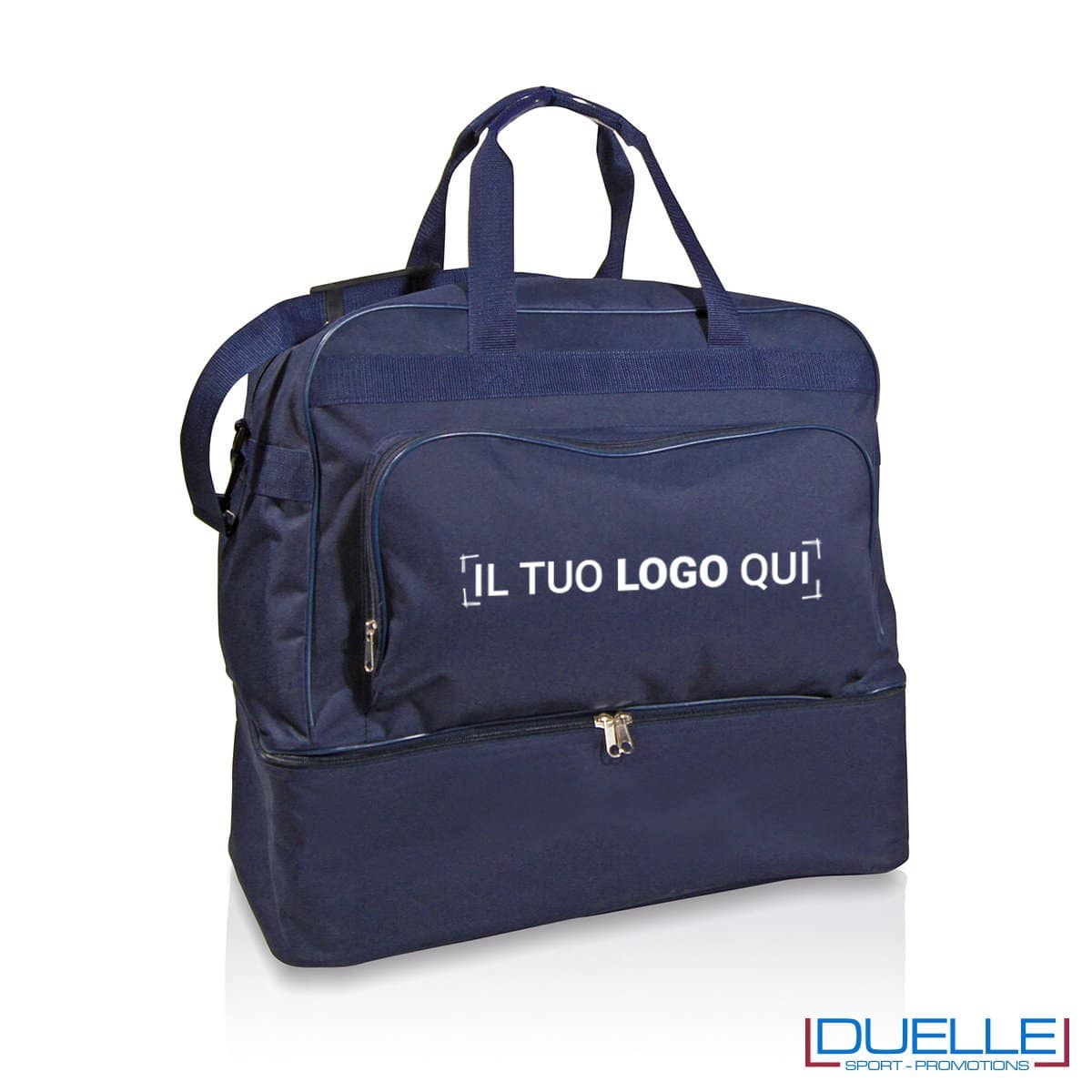 borsone calcio personalizzabile in colore blu, borsoni calcio personalizzati blu