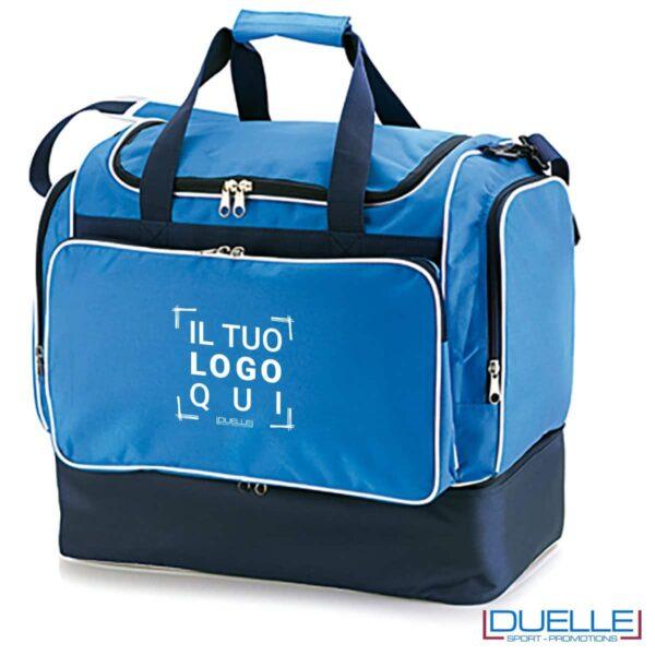 borsone calcio personalizzato colore blu royal, borsoni calcio promozionali personalizzabili blu royal