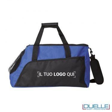 Borsone sportivo personalizzato colore BLU e NERO, borse sport personalizzate, gadget sportivi personalizzati