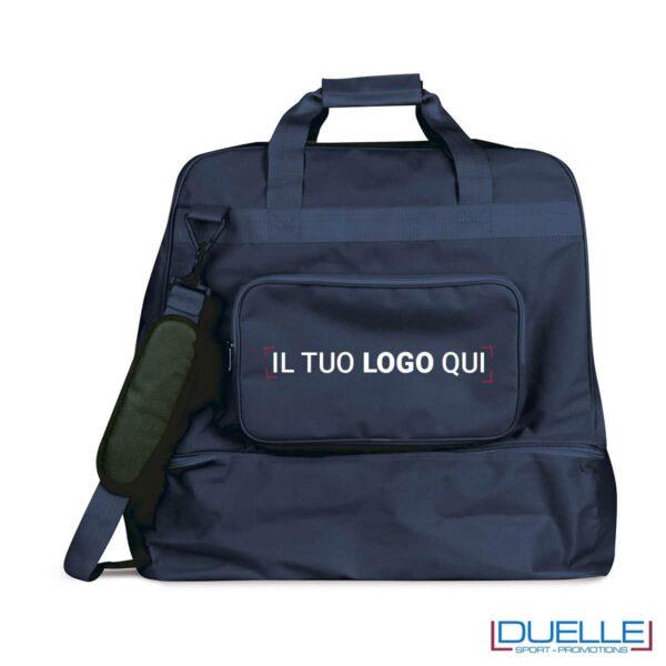 Borsone sportivo personalizzato colore BLU NAVY con porta scarpe, borse sportive personalizzate, gadget sportivi personalizzati