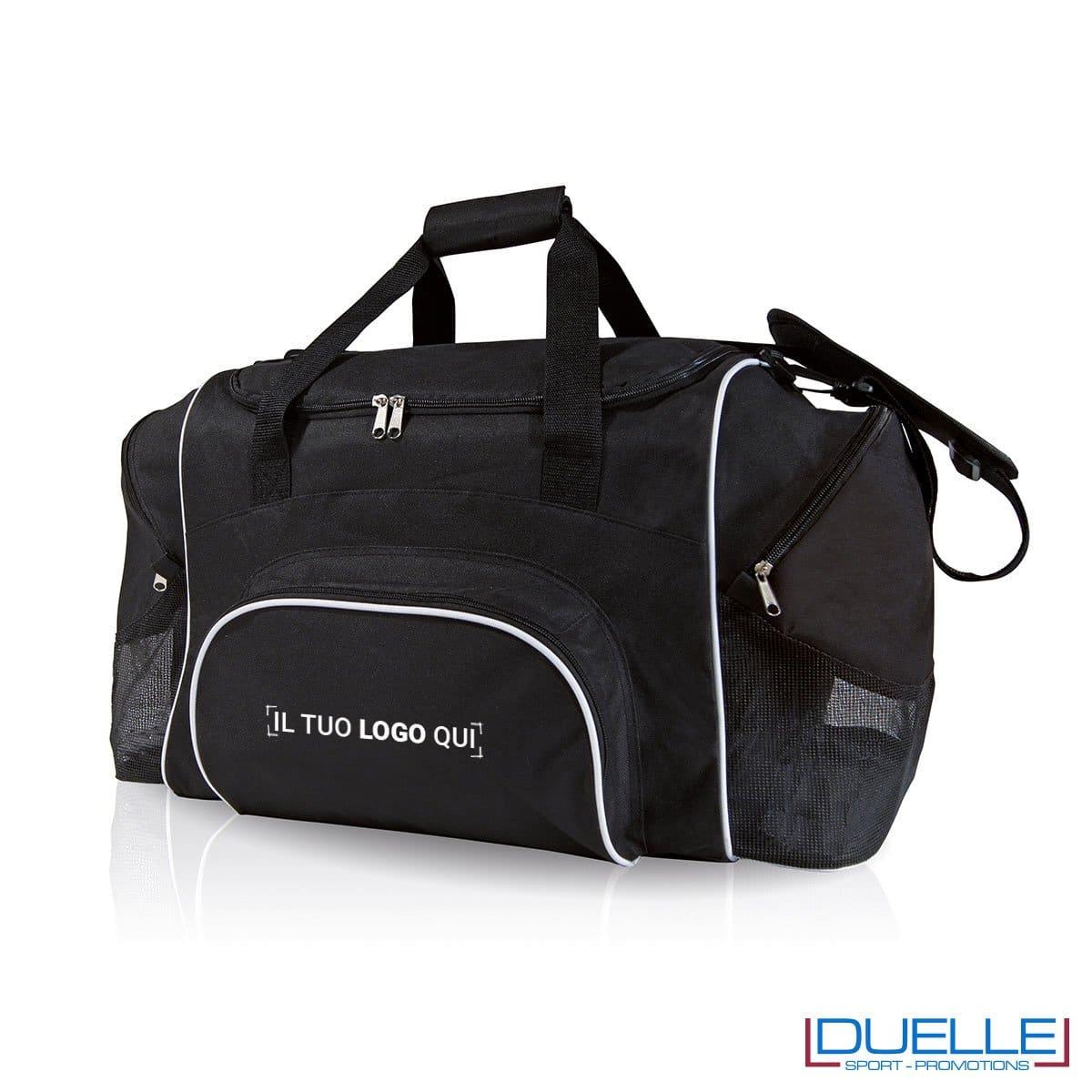 borsa sportiva personalizzata con portascarpe in colore nero, borsoni sportivi personalizzabili neri