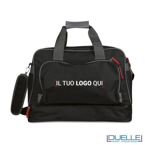 Borsone sportivo personalizzato colore NERO, gadget sport personalizzato, gadget personalizzati