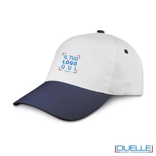 cappellino personalizzato golf a 5 pannelli colore bianco e blu