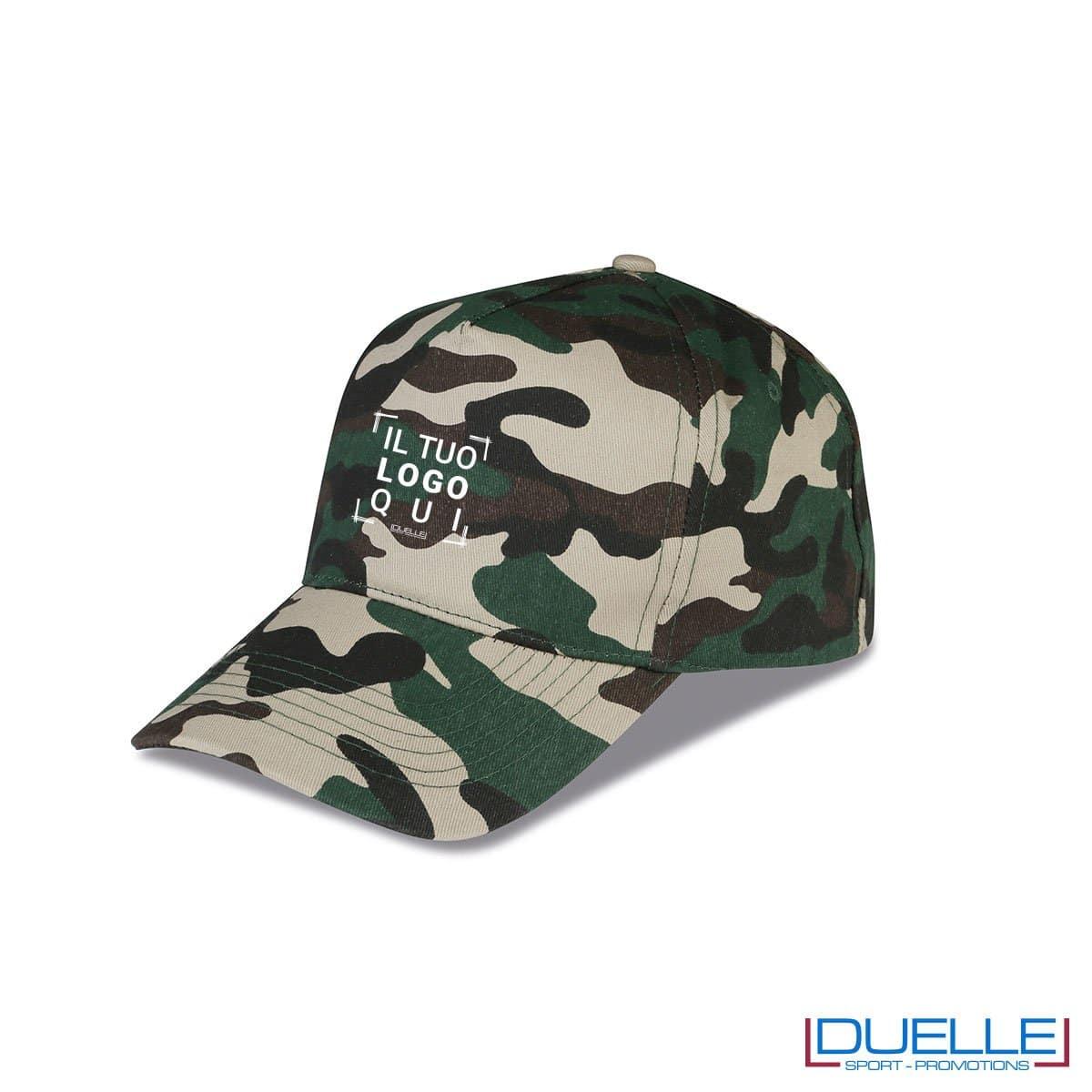 cappellino personalizzato in colore camouflage bosco