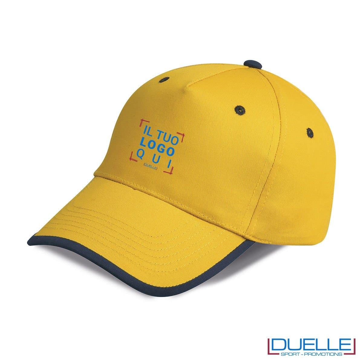 cappellino personalizzato a 5 pannelli con orlo a contrasto, colore giallo