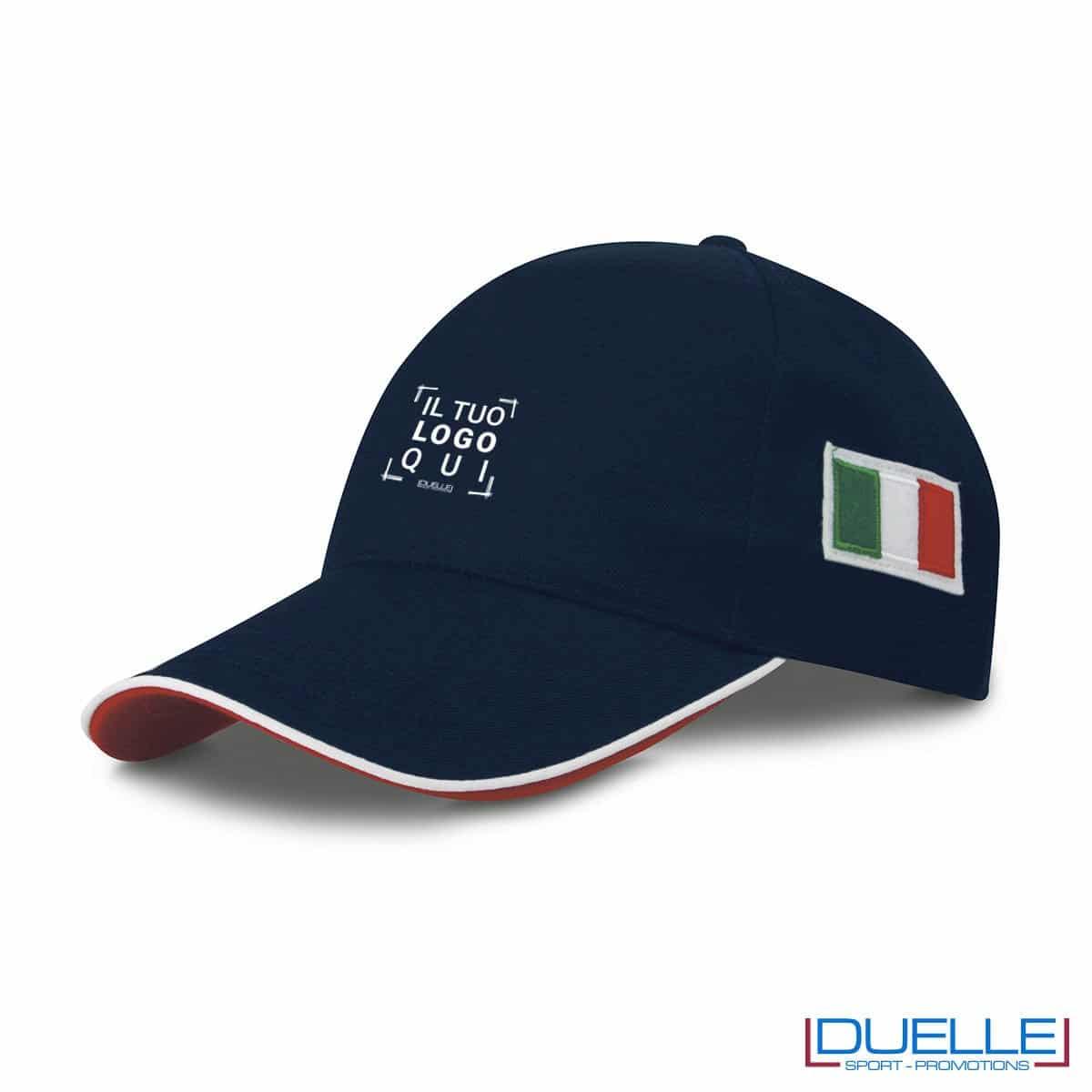 cappellino personalizzato 5 pannelli con bandiera tricolore colore blu navy