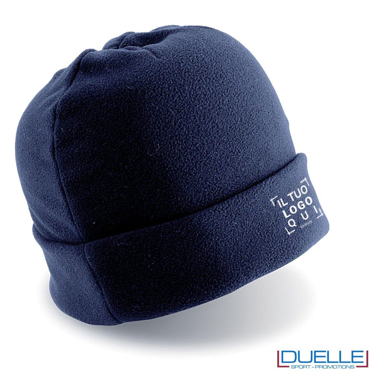 cappello personalizzato in pile colore blu, berretto personalizzato inverno