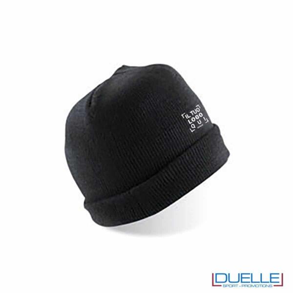 cappello personalizzato inverno in tessuto pesante colore nero