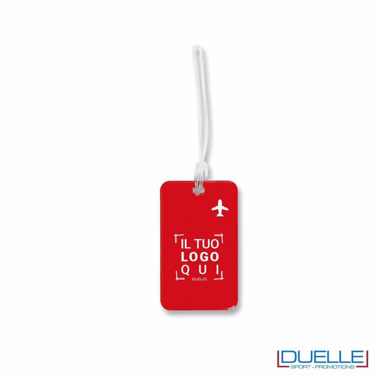 targhetta identificativa personalizzata colore rosso, gadget promozionale viaggi