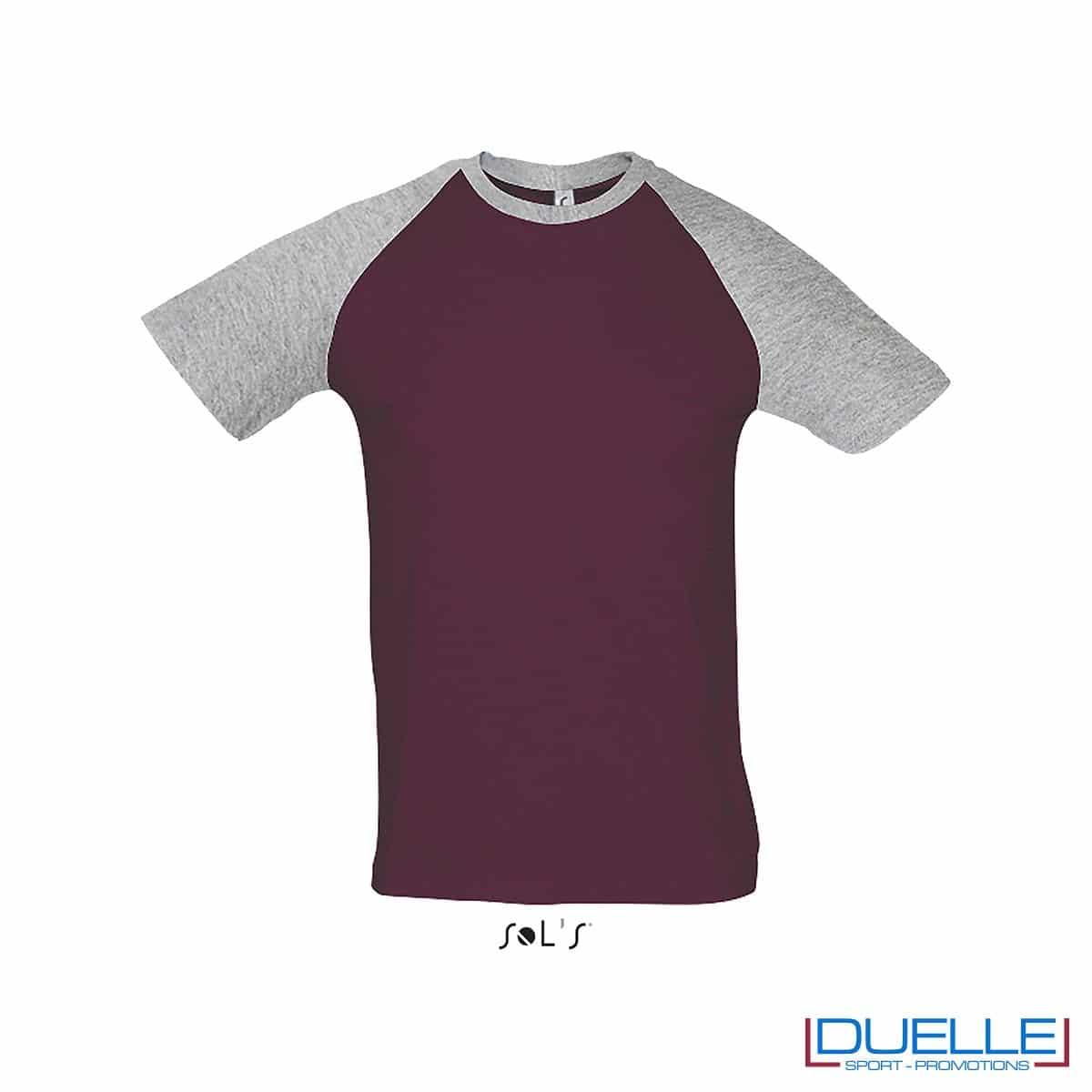 t-shirt personalizzata sportiva bicolore in colore grigio e bordeaux, abbigliamento sportivo personalizzato