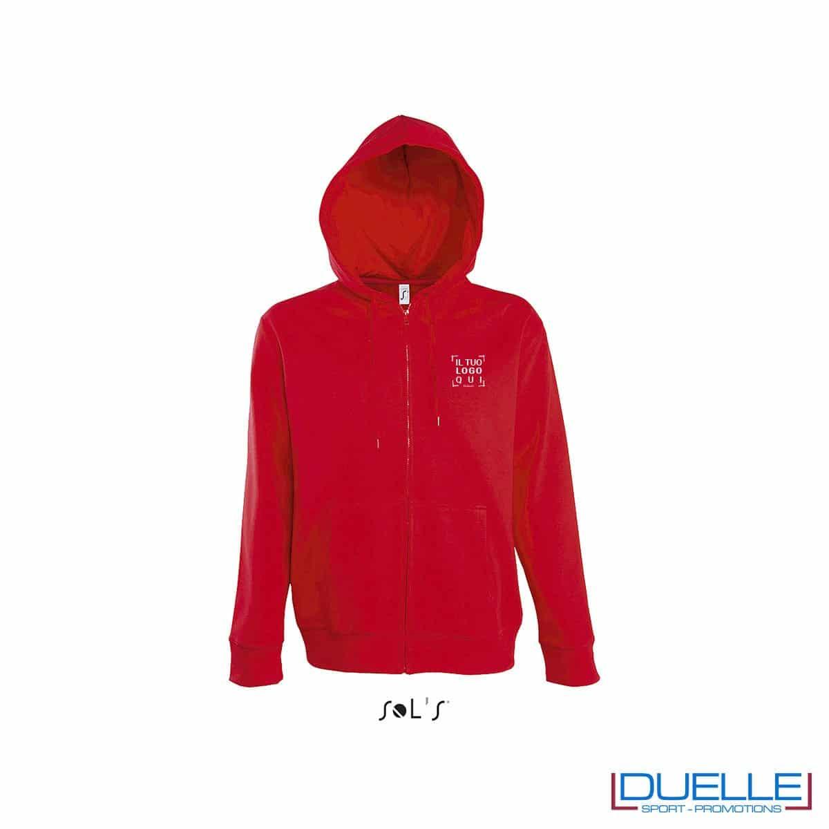 felpa personalizzata con cappuccio e zip completa colore rosso, felpa personalizzata