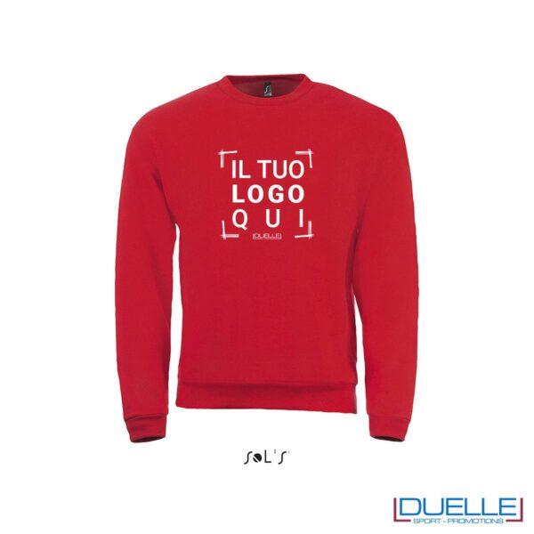 felpa personalizzata con girocollo in colore rosso, felpe personalizzate, abbigliamento promozionale personalizzato