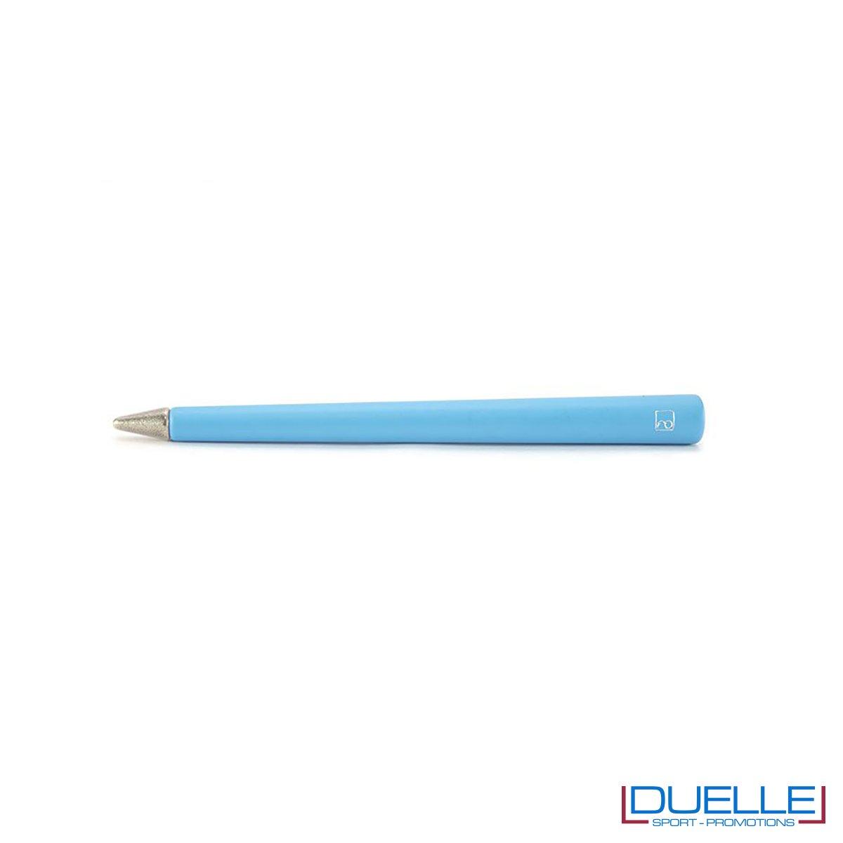 matita inifita personalizzata primina in colore azzurro, regali aziendali personalizzabili azzurri
