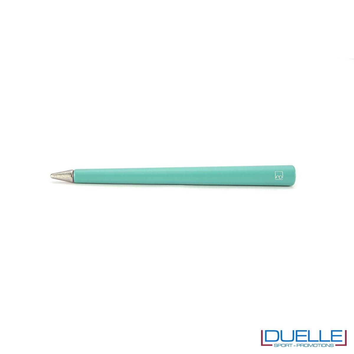 matita infinita personalizzata primina in colore turchese, regali aziendali personalizzabili turchesi