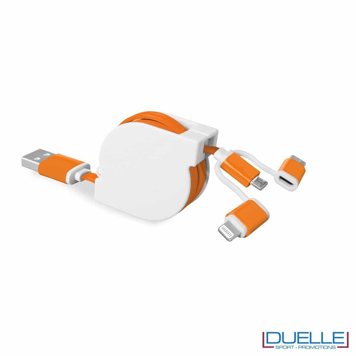 Cavetto adattatore 3 in 1 personalizzabile arancione