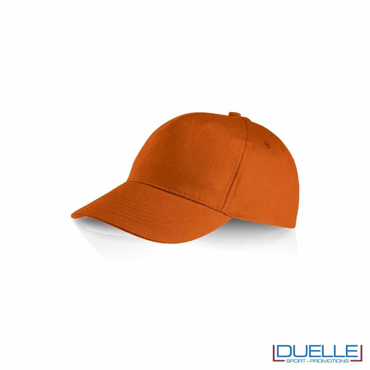 Cappellino personalizzato cotone arancione, cappellini promozionali baseball, cappellini baseball personalizzati arancione