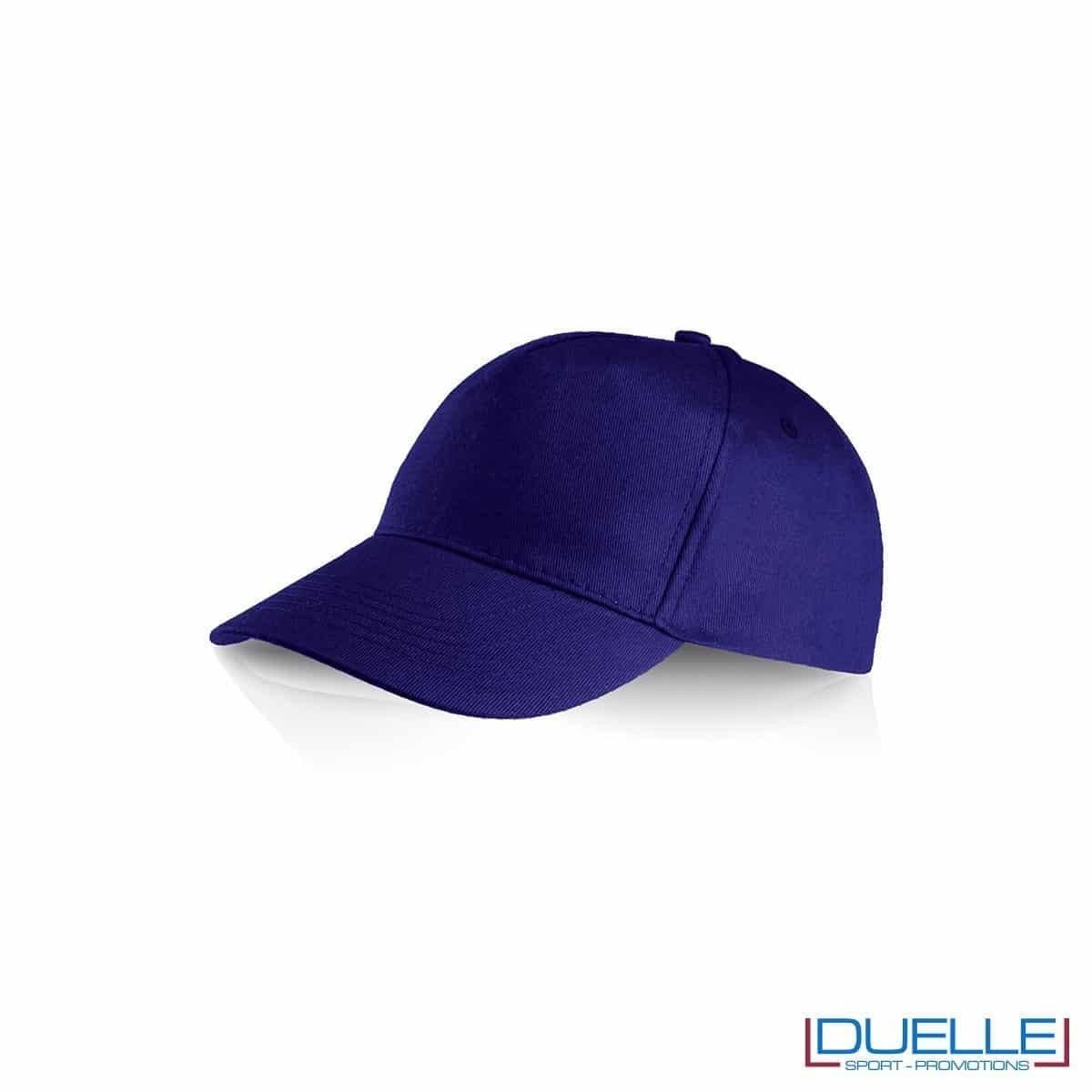 Cappellino personalizzato cotone blu royal, cappellini promozionali baseball, cappellini baseball personalizzati blu royal