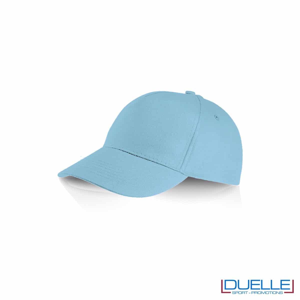 Cappellino personalizzato cotone azzurro, cappellini promozionali baseball, cappellini baseball personalizzati azzurro