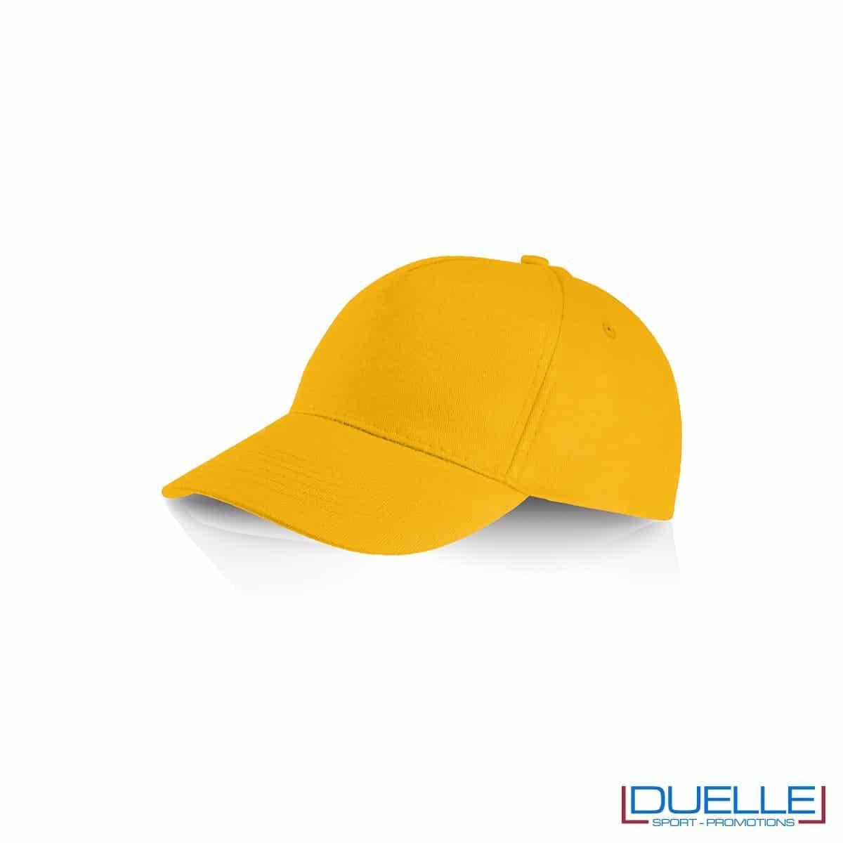 Cappellino personalizzato cotone giallo, cappellini promozionali baseball, cappellini baseball personalizzati giallo