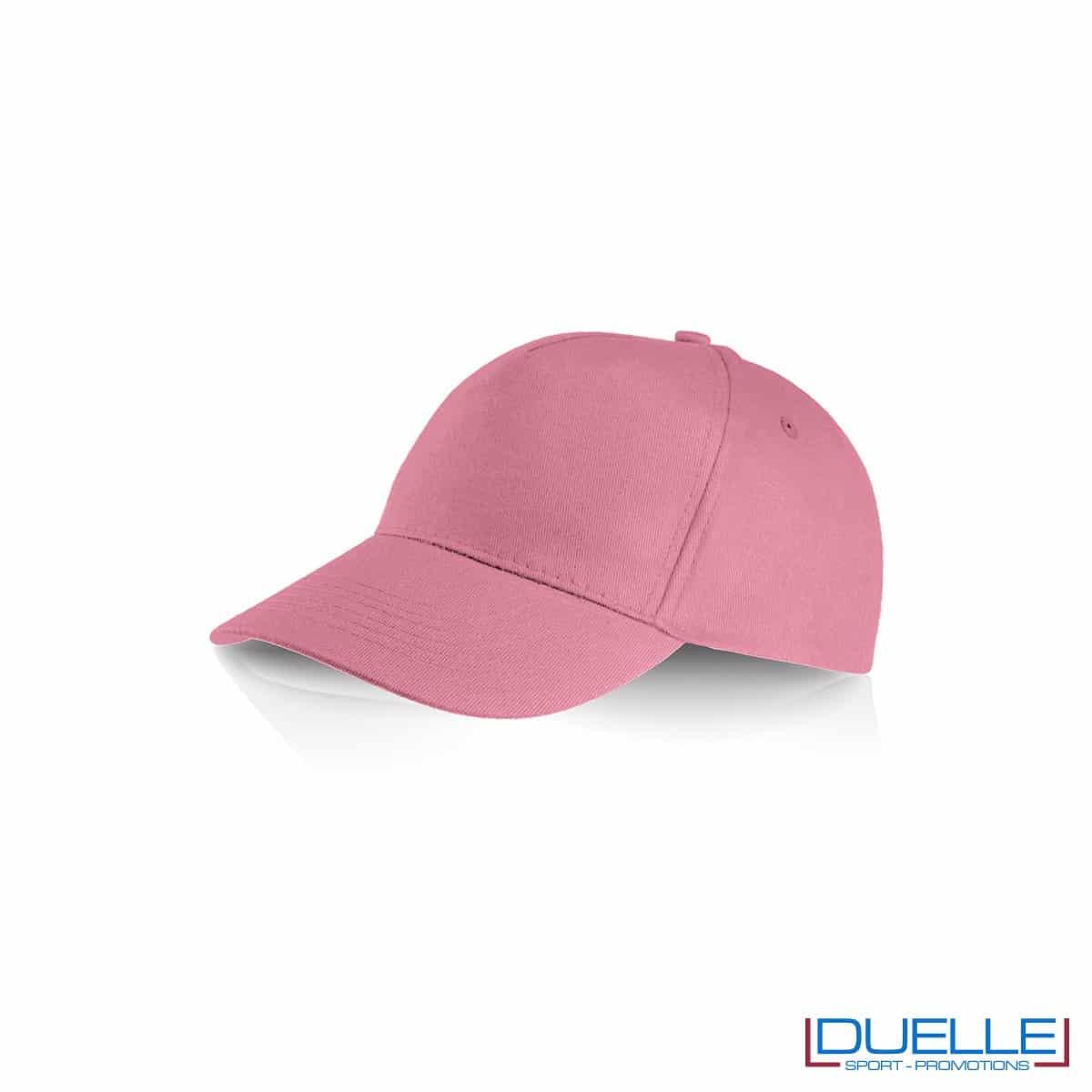 Cappellino personalizzato cotone rosa, cappellini promozionali baseball, cappellini baseball personalizzati rosa