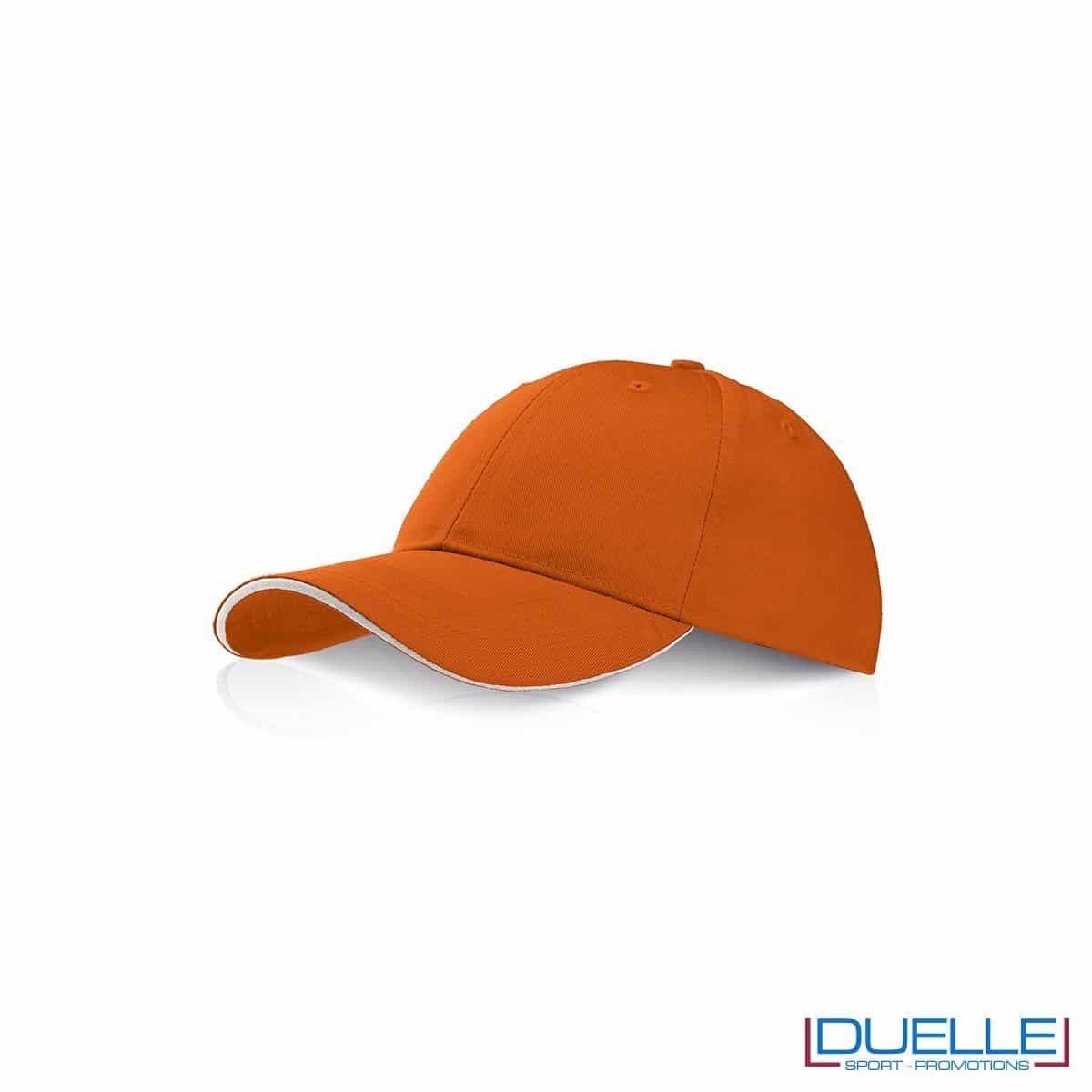 Cappellino personalizzato con visiera a sandwich arancione, cappellini promozionali arancione