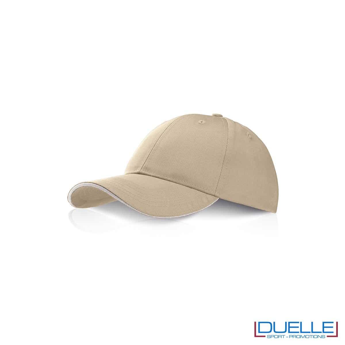 Cappellino personalizzato con visiera a sandwich beige, cappellini promozionali beige