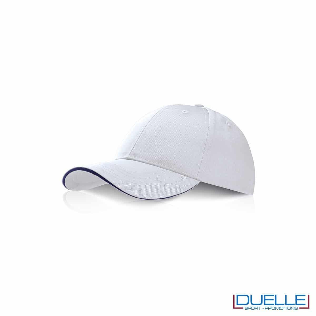 Cappellino personalizzato con visiera a sandwich bianco, cappellini promozionali bianco