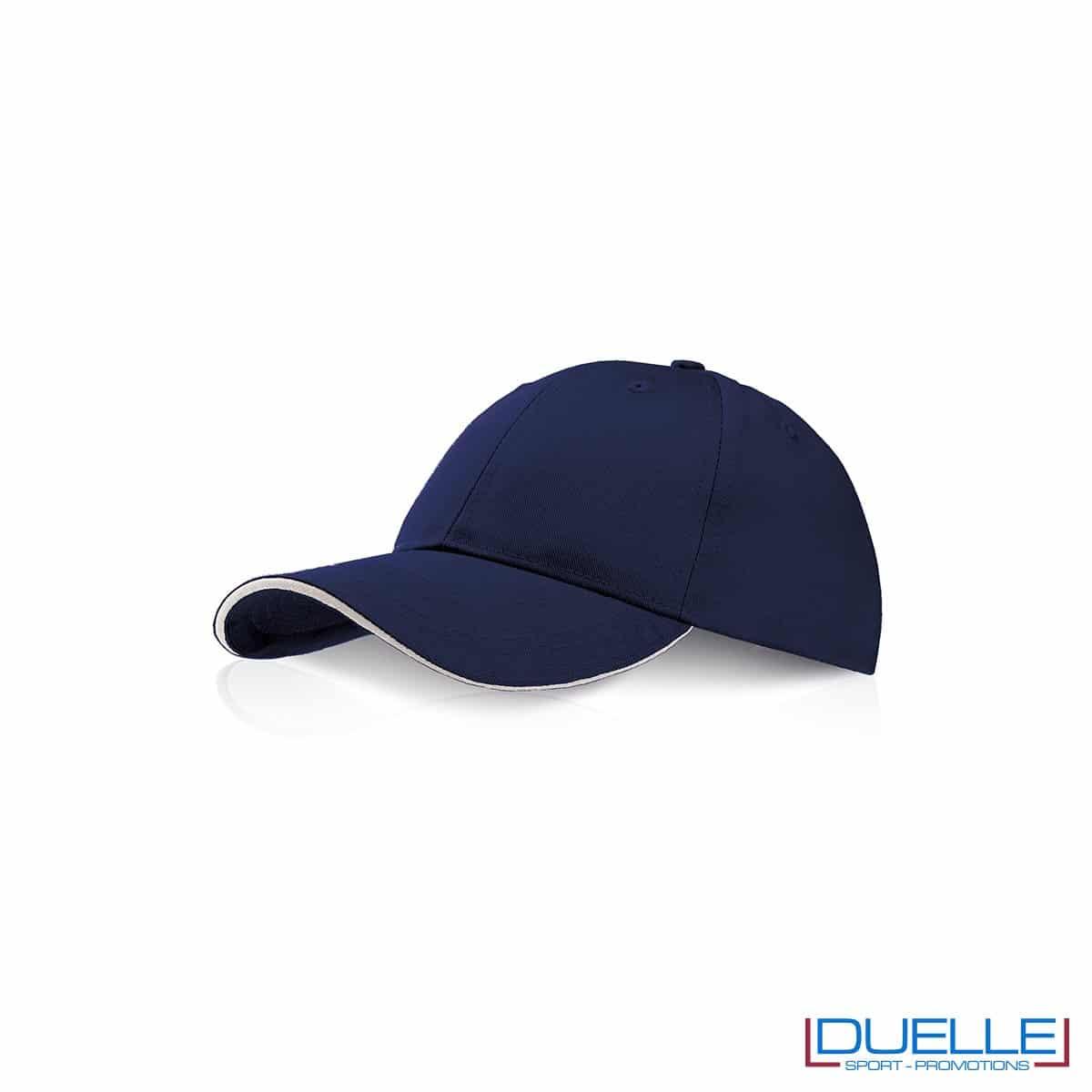 Cappellino personalizzato con visiera a sandwich blu navy, cappellini promozionali blu