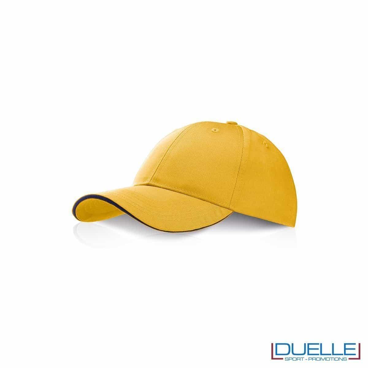 Cappellino personalizzato con visiera a sandwich,rigida,gadget sport, giallo