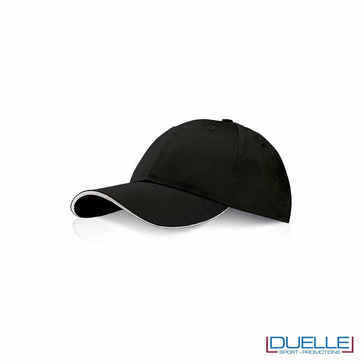 Cappellino personalizzato con visiera a sandwich nero, cappellini promozionali nero
