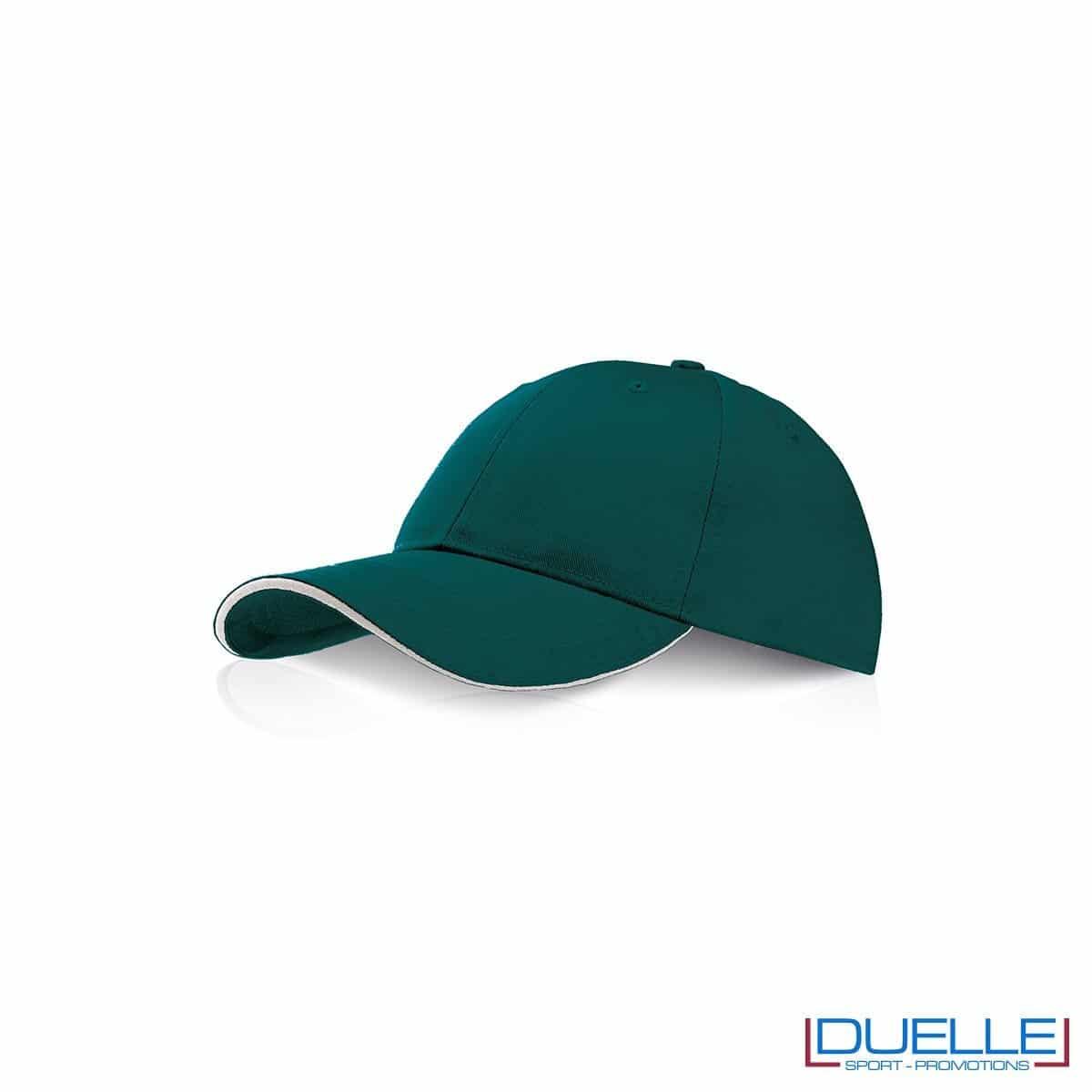 Cappellino personalizzato con visiera a sandwich verde scuro, cappellini promozionali verde scuro