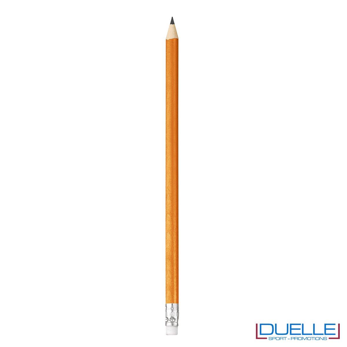 matita personalizzabile legno 100% naturale arancione con gomma incorporata, gadget da scrivania