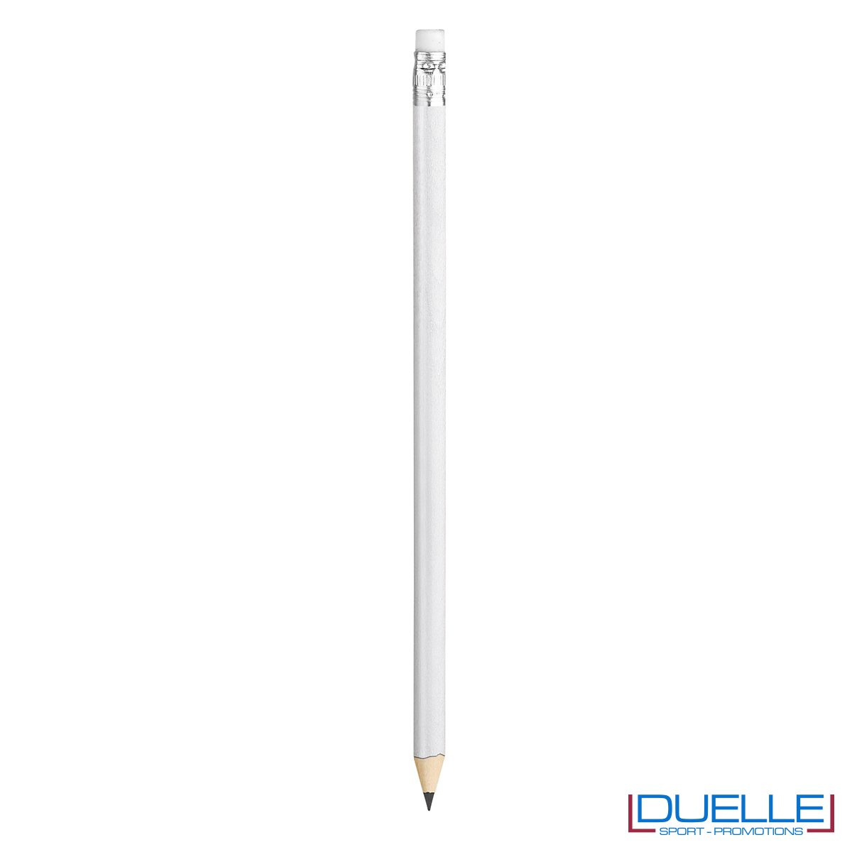 matita personalizzabile legno 100% naturale bianca con gomma incorporata, gadget da scrivania