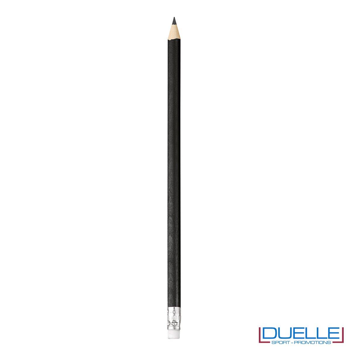 matita personalizzabile legno 100% naturale nera con gomma incorporata, gadget da scrivania