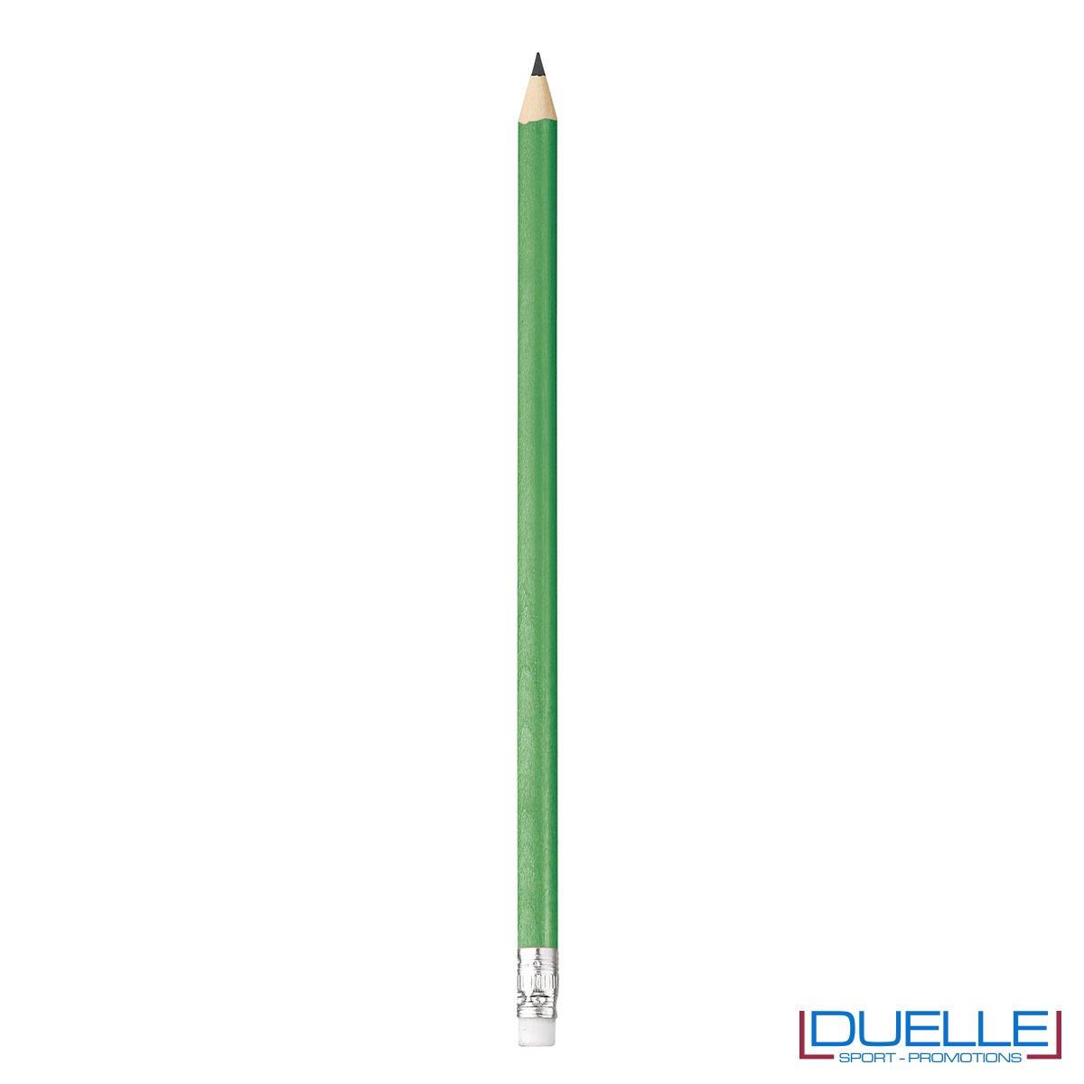 matita personalizzabile legno 100% naturale verde con gomma incorporata, gadget da scrivania