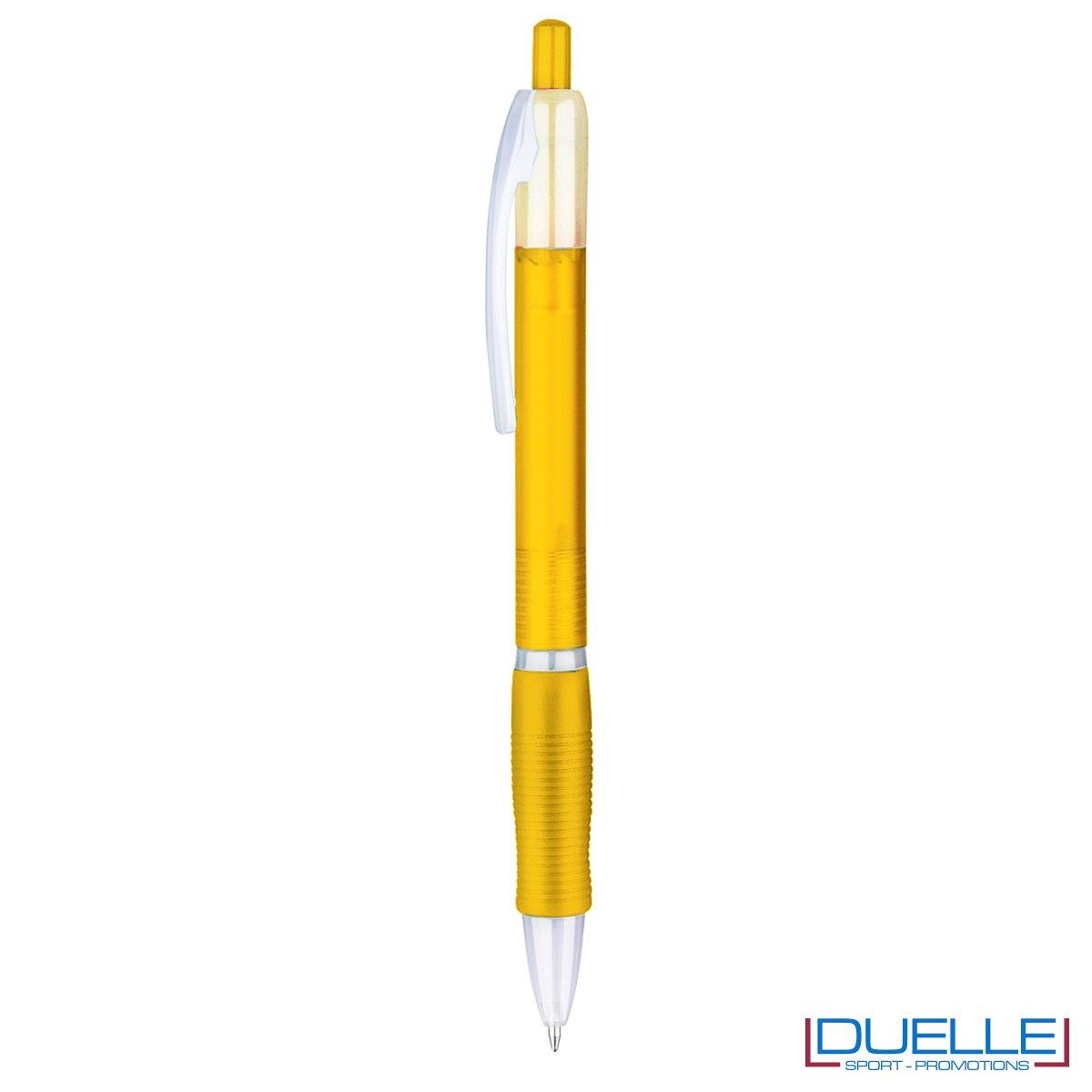 penna personalizzabile economica in colore giallo fusto frost, offerta penne economiche personalizzabili in colore giallo fusto frost