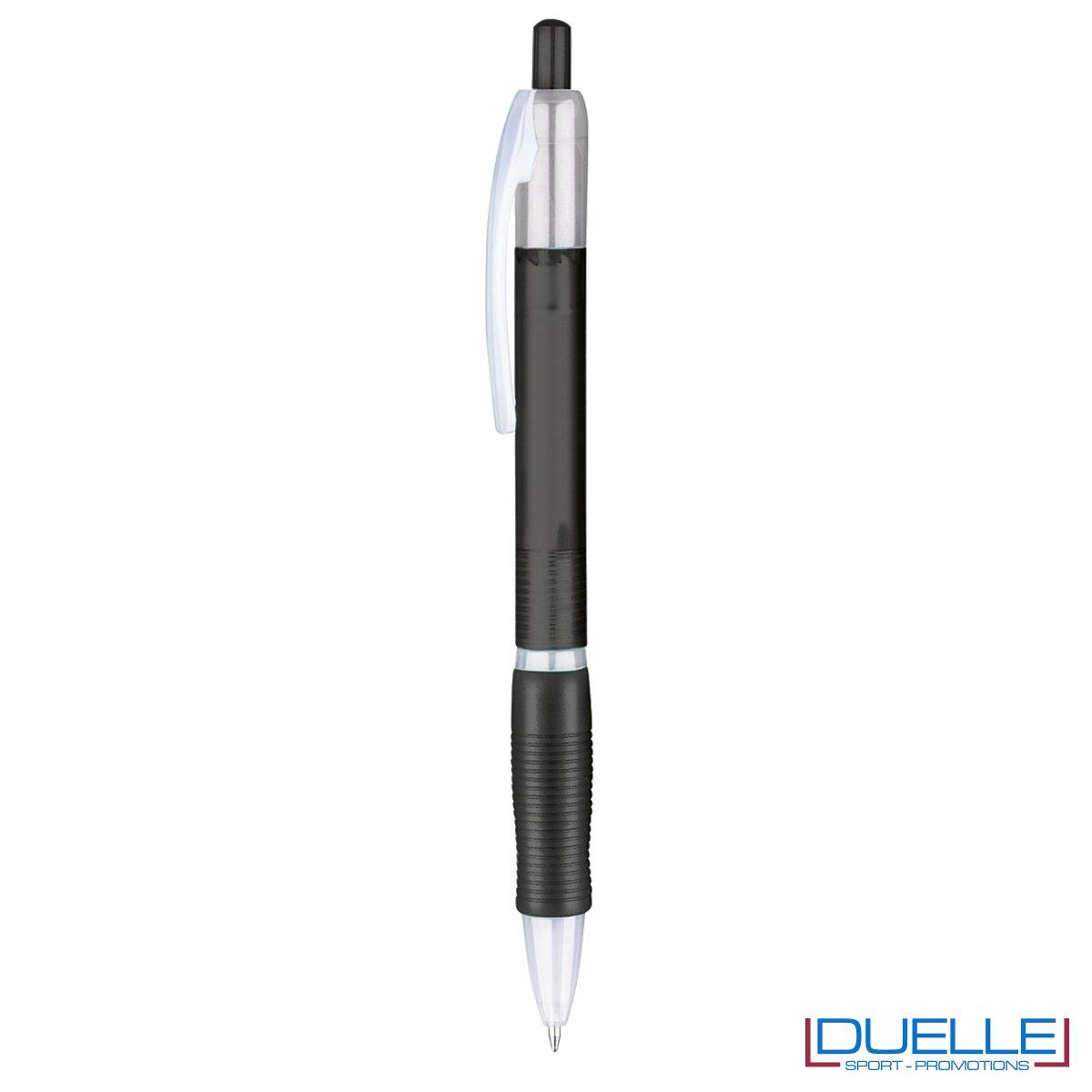penna personalizzabile economica in colore nero fusto frost, offerta penne economiche personalizzabili in colore nero fusto frost
