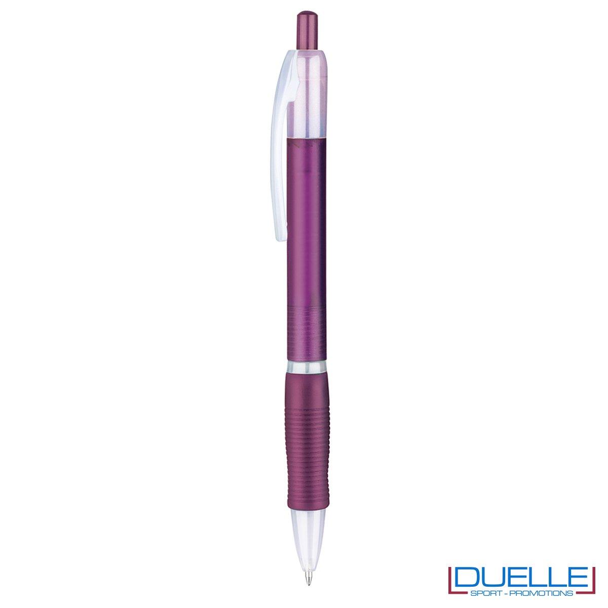 penna personalizzabile economica in colore viola fusto frost, offerta penne economiche personalizzabili in colore viola fusto frost