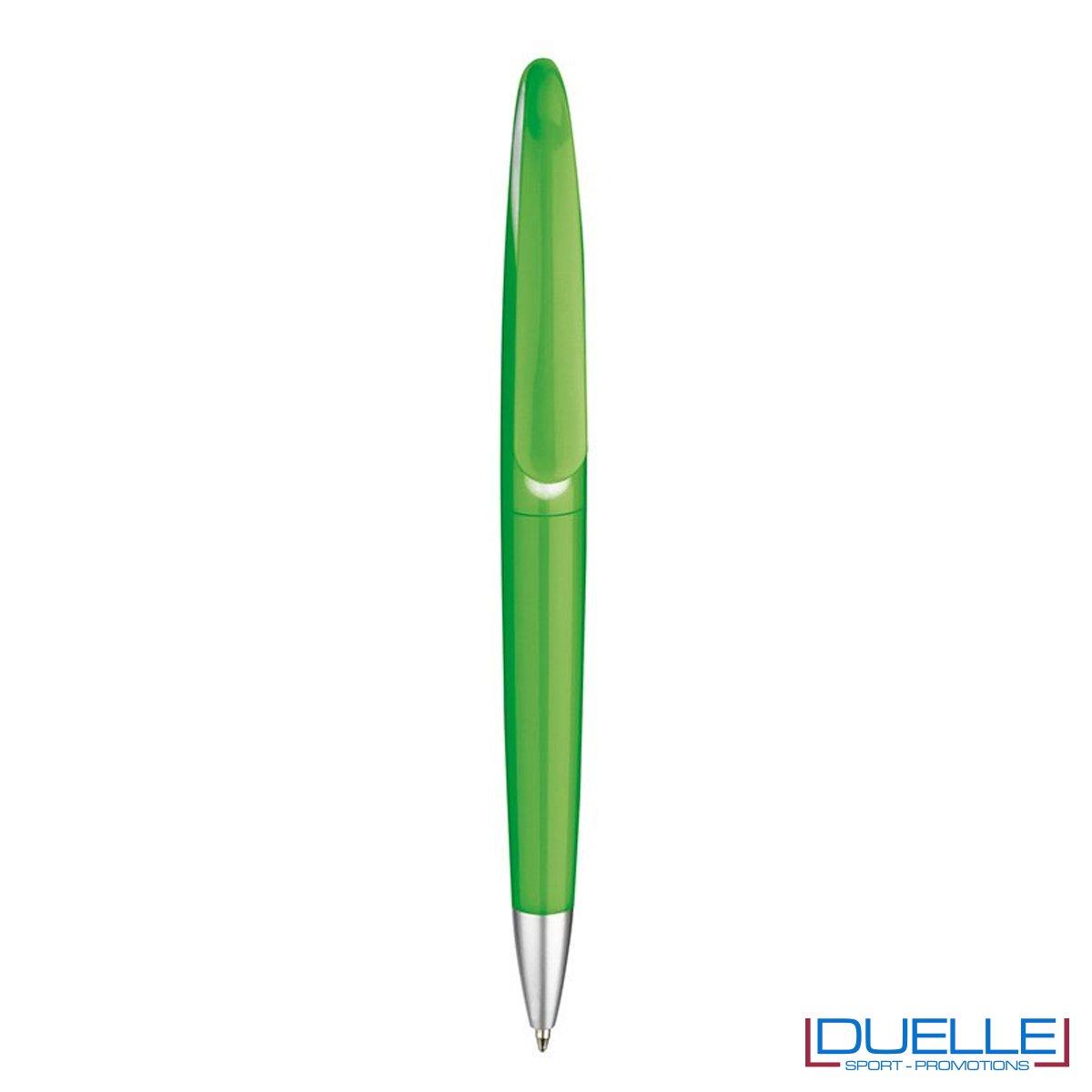 penna personalizzata verde con apertura a rotazione, penne promozionali personalizzate verdi con apertura a rotazione