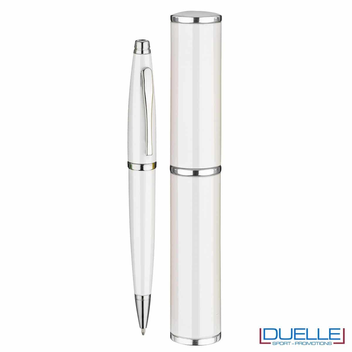 penna personalizzata in alluminio colore bianco confezionata in cilindro regalo