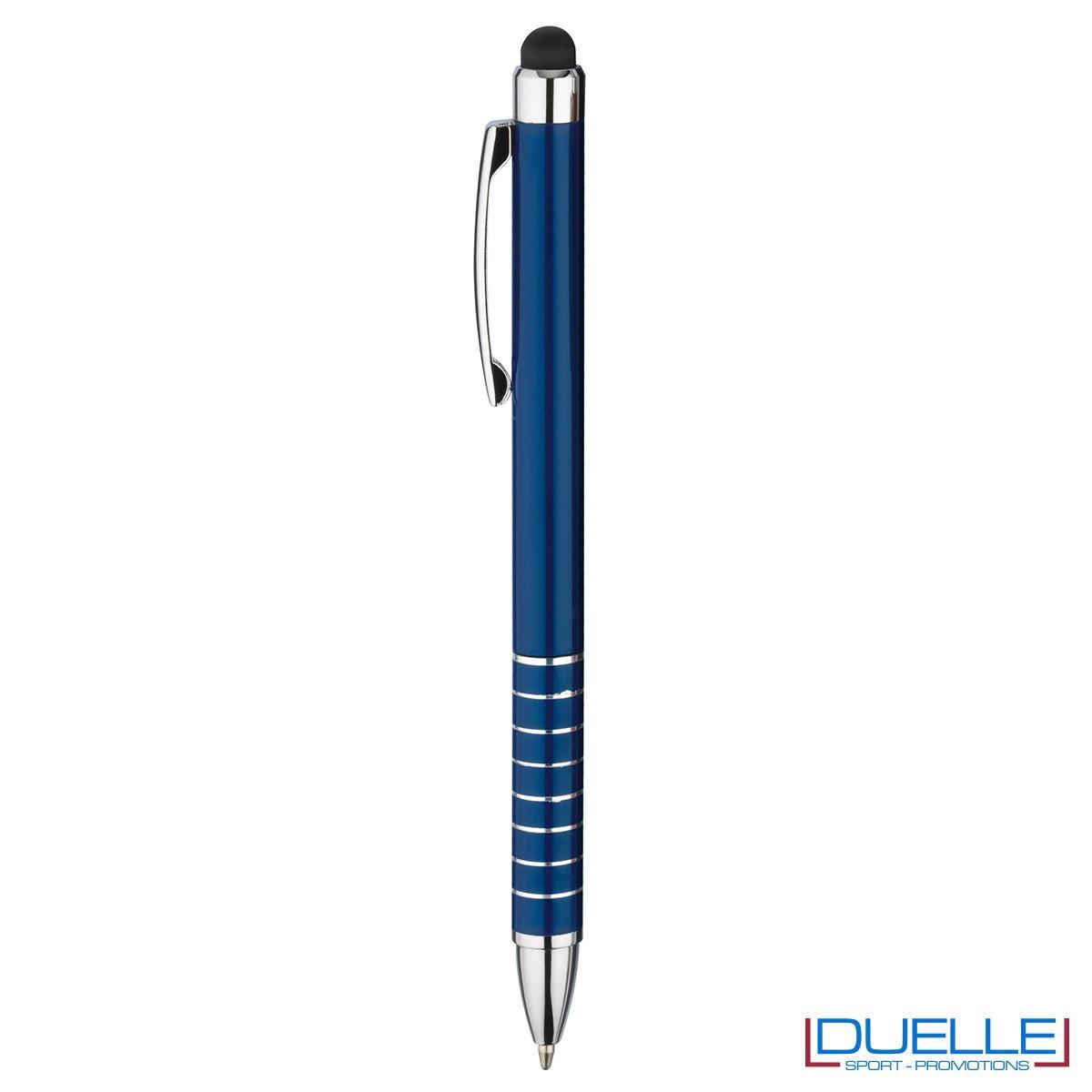 penna touch screen personalizzata in alluminio laccato blu, gadget aziendali personalizzati