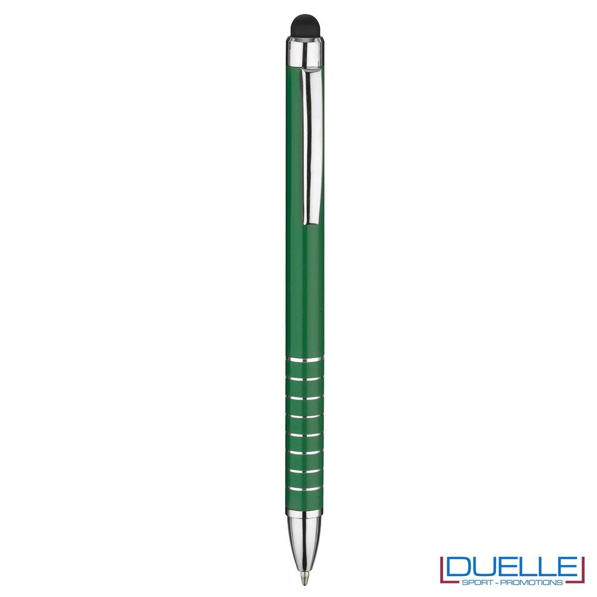 penna touch screen personalizzata in alluminio laccato verde, gadget aziendali personalizzati