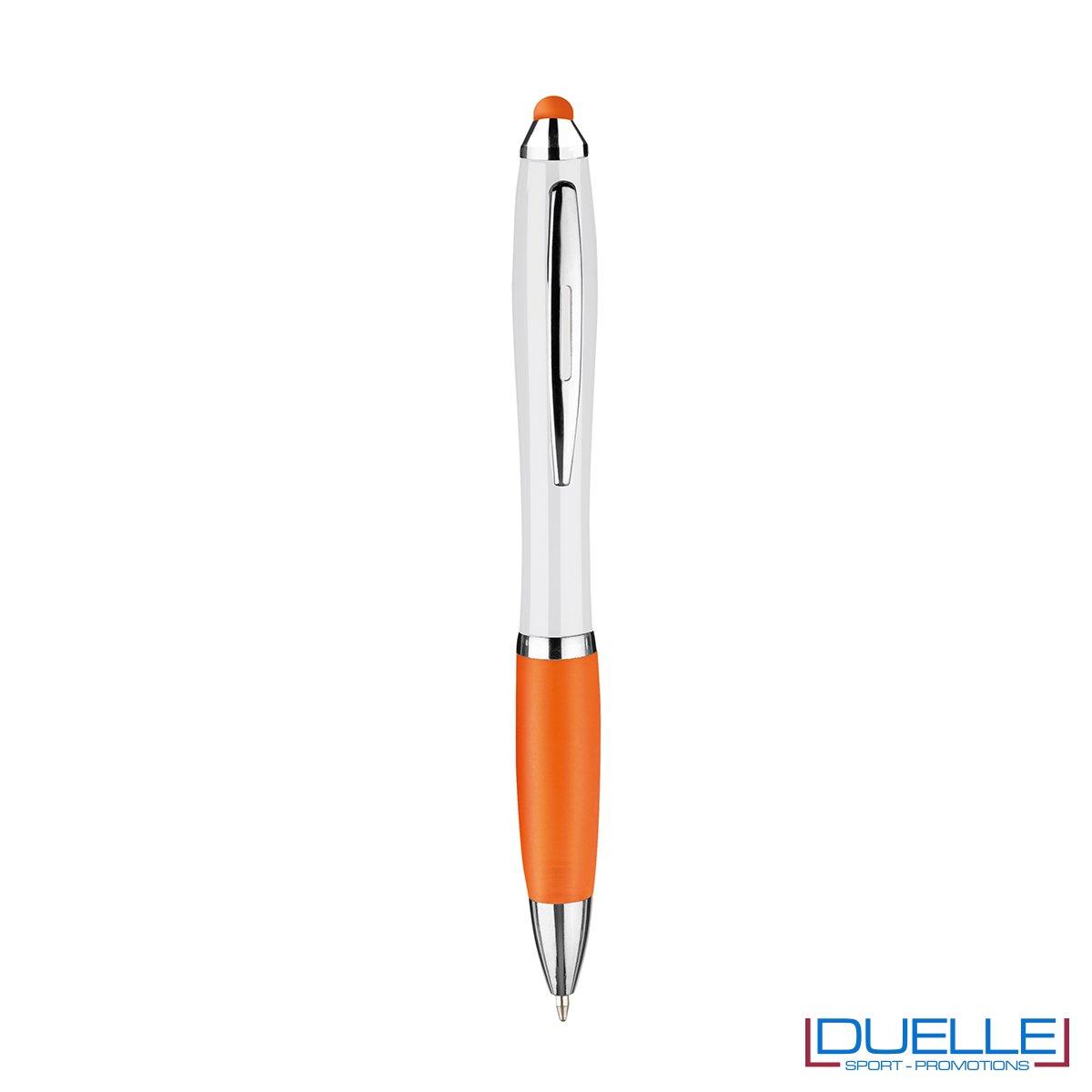 penna touch screen personalizzata in plastica arancione, gadget aziendali personalizzati