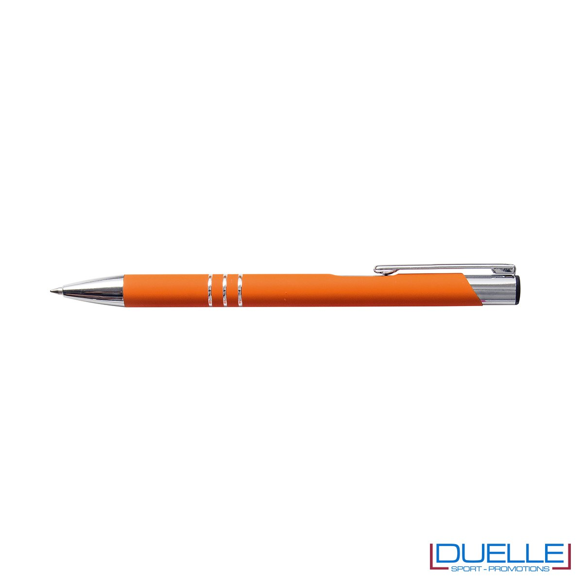 penna personalizzabile in metallo con finitura soft touch arancione, penne personalizzate promozionali soft touch arancioni